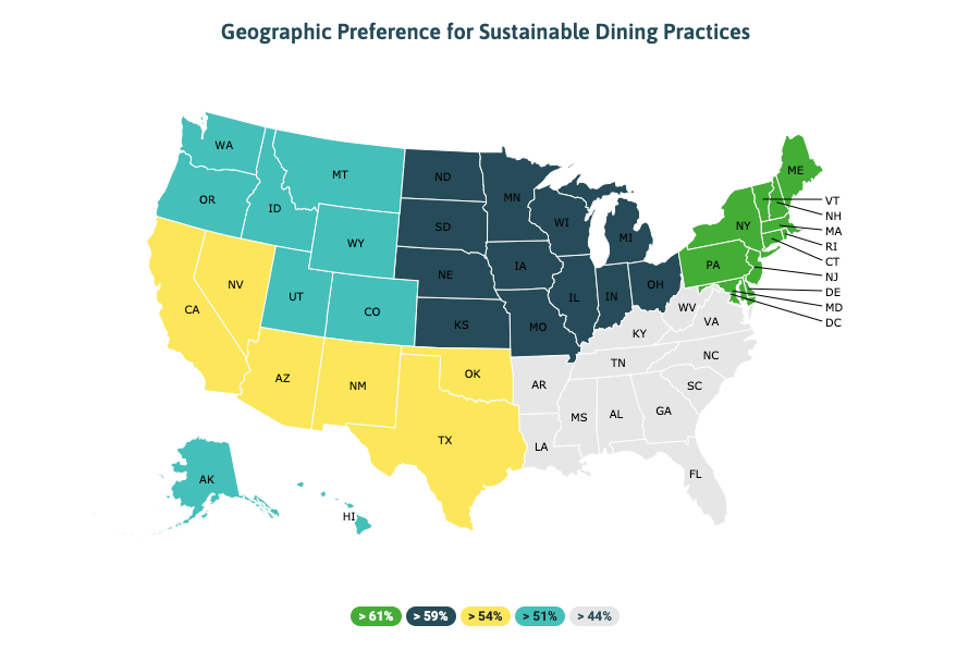 Geographic preferences for sustainable event food and beverage PromoLeaf event survey