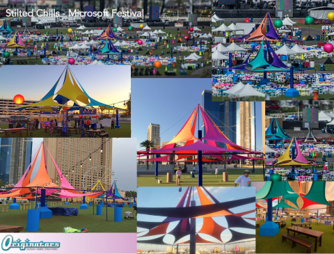 """Stilted Chills"" fabric structures"