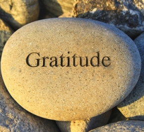 "rock that says ""Gratitude"""